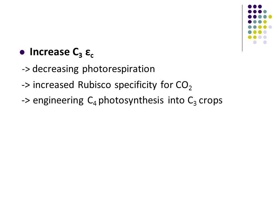Increase C 3 ε c -> decreasing photorespiration -> increased Rubisco specificity for CO 2 -> engineering C 4 photosynthesis into C 3 crops