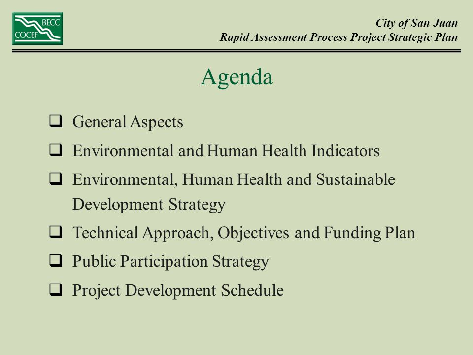 City of San Juan Rapid Assessment Process Project Strategic Plan  General Aspects  Environmental and Human Health Indicators  Environmental, Human Health and Sustainable Development Strategy  Technical Approach, Objectives and Funding Plan  Public Participation Strategy  Project Development Schedule Agenda