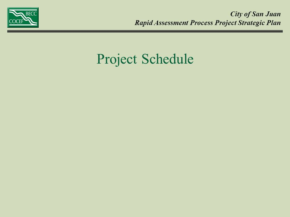 City of San Juan Rapid Assessment Process Project Strategic Plan Project Schedule