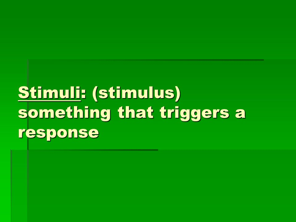 Stimuli: (stimulus) something that triggers a response