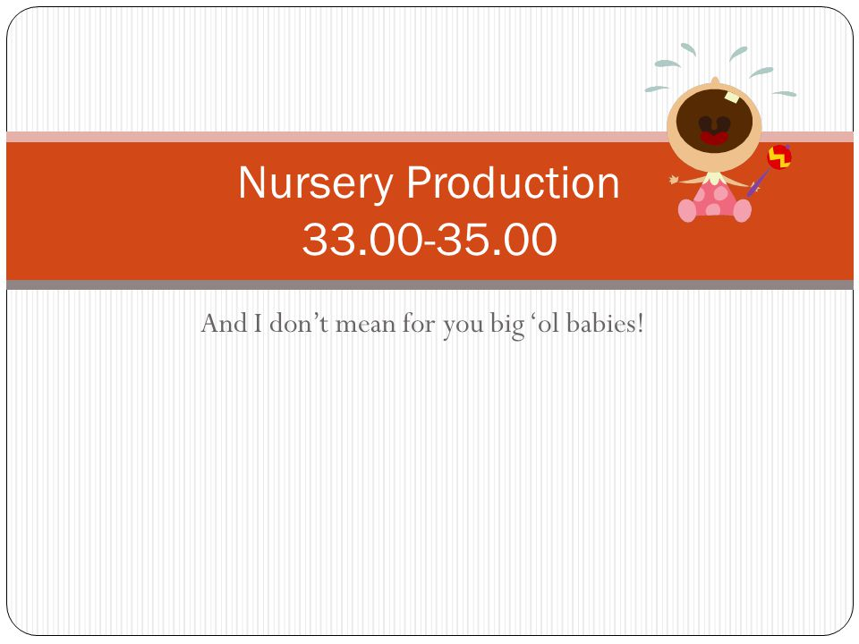 And I don't mean for you big 'ol babies! Nursery Production 33.00-35.00