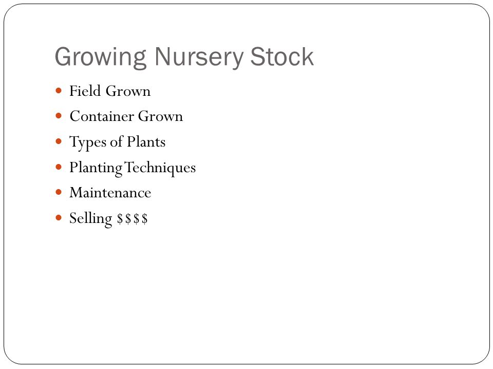 Growing Nursery Stock Field Grown Container Grown Types of Plants Planting Techniques Maintenance Selling $$$$