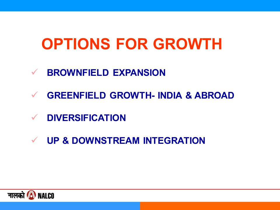 OPTIONS FOR GROWTH BROWNFIELD EXPANSION GREENFIELD GROWTH- INDIA & ABROAD DIVERSIFICATION UP & DOWNSTREAM INTEGRATION