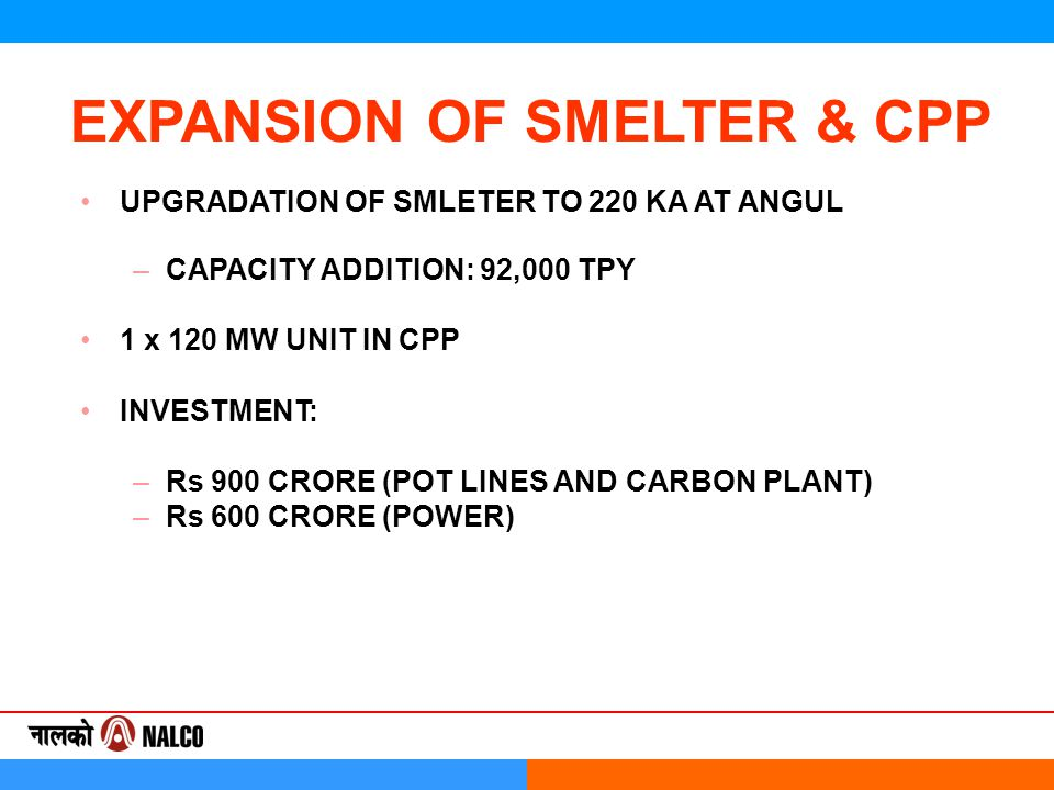 EXPANSION OF SMELTER & CPP UPGRADATION OF SMLETER TO 220 KA AT ANGUL –CAPACITY ADDITION: 92,000 TPY 1 x 120 MW UNIT IN CPP INVESTMENT: –Rs 900 CRORE (POT LINES AND CARBON PLANT) –Rs 600 CRORE (POWER)