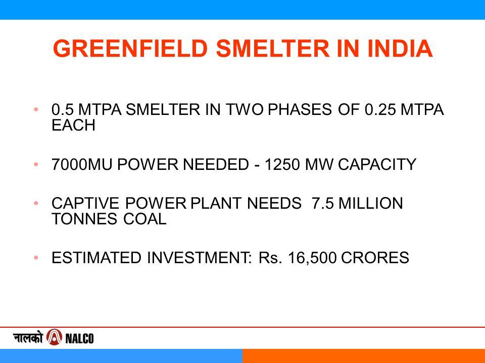 GREENFIELD SMELTER IN INDIA 0.5 MTPA SMELTER IN TWO PHASES OF 0.25 MTPA EACH 7000MU POWER NEEDED - 1250 MW CAPACITY CAPTIVE POWER PLANT NEEDS 7.5 MILLION TONNES COAL ESTIMATED INVESTMENT: Rs.