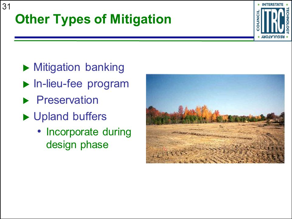 31 Other Types of Mitigation  Mitigation banking  In-lieu-fee program  Preservation  Upland buffers Incorporate during design phase