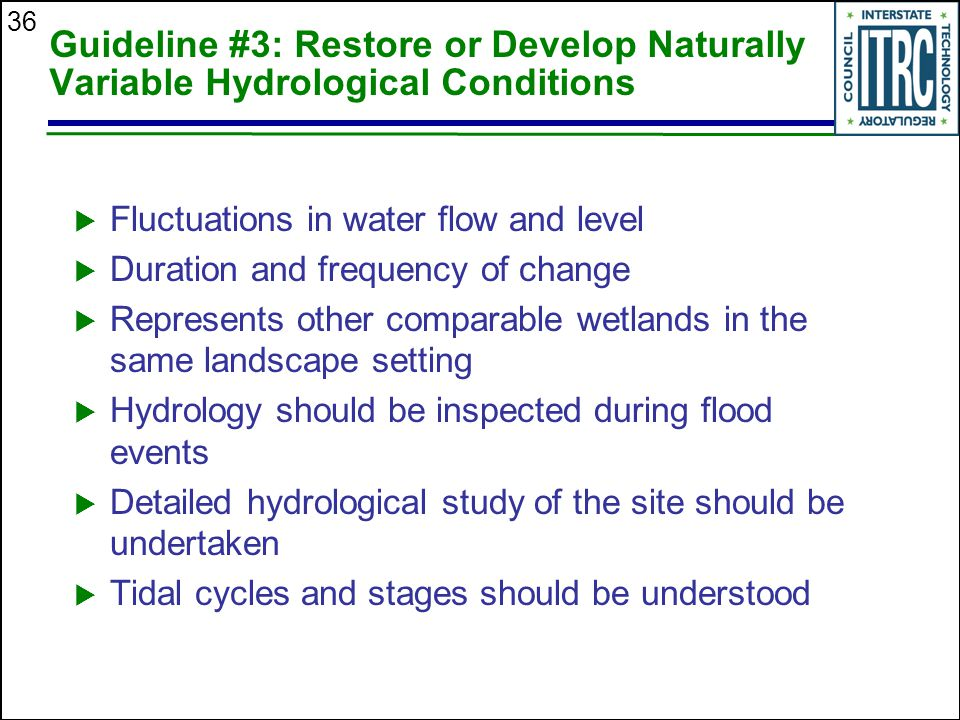 36 Guideline #3: Restore or Develop Naturally Variable Hydrological Conditions  Fluctuations in water flow and level  Duration and frequency of change  Represents other comparable wetlands in the same landscape setting  Hydrology should be inspected during flood events  Detailed hydrological study of the site should be undertaken  Tidal cycles and stages should be understood