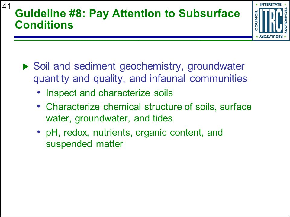 41 Guideline #8: Pay Attention to Subsurface Conditions  Soil and sediment geochemistry, groundwater quantity and quality, and infaunal communities Inspect and characterize soils Characterize chemical structure of soils, surface water, groundwater, and tides pH, redox, nutrients, organic content, and suspended matter