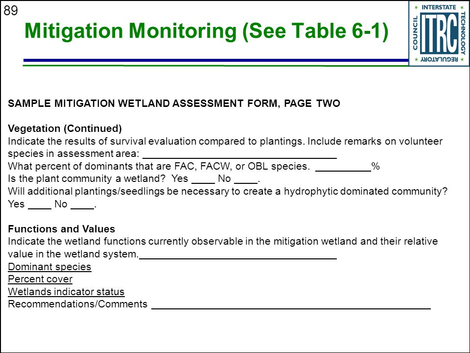 89 Mitigation Monitoring (See Table 6-1) SAMPLE MITIGATION WETLAND ASSESSMENT FORM, PAGE TWO Vegetation (Continued) Indicate the results of survival evaluation compared to plantings.