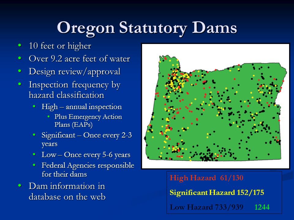 Oregon Statutory Dams 10 feet or higher 10 feet or higher Over 9.2 acre feet of water Over 9.2 acre feet of water Design review/approval Design review