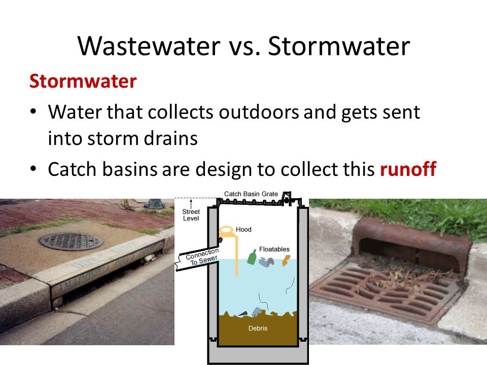 Wastewater vs. Stormwater Stormwater Water that collects outdoors and gets sent into storm drains Catch basins are design to collect this runoff