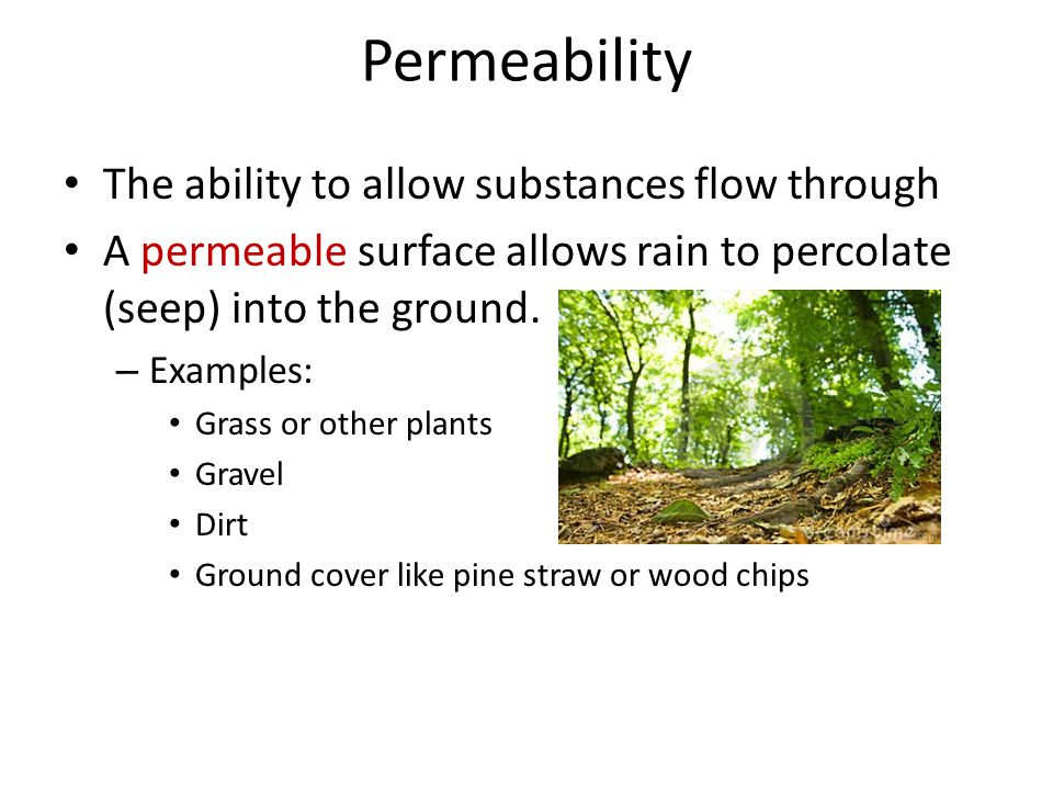 Permeability The ability to allow substances flow through A permeable surface allows rain to percolate (seep) into the ground. – Examples: Grass or ot