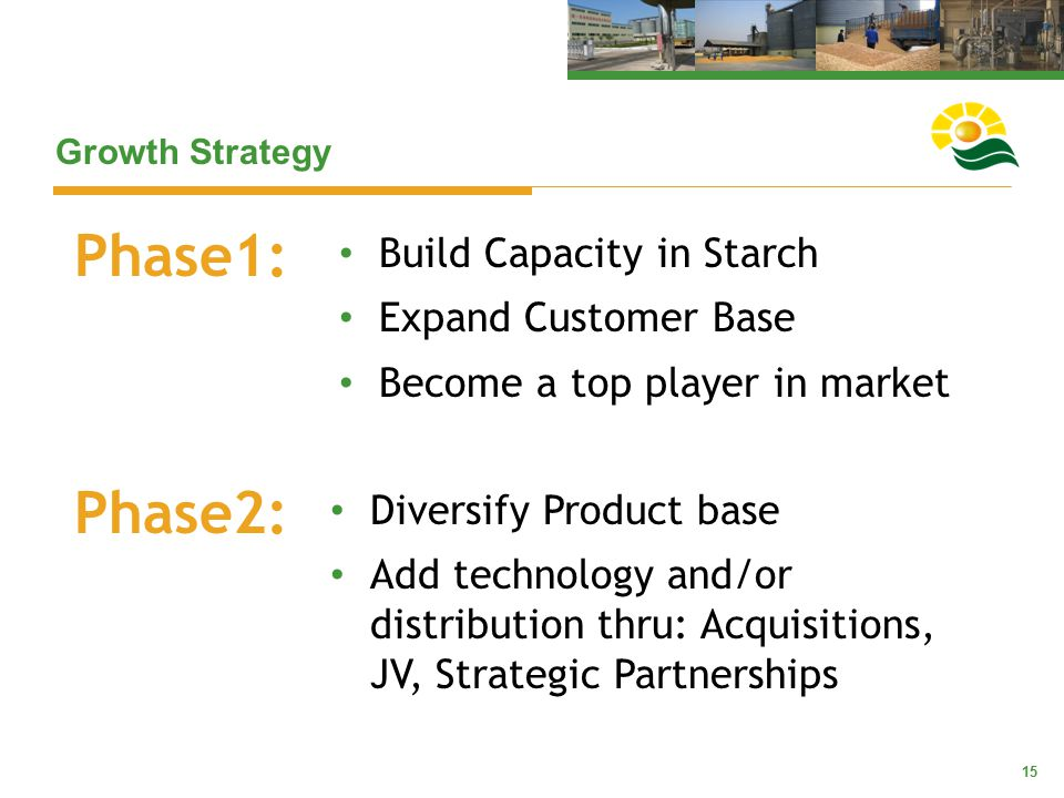 15 Growth Strategy Build Capacity in Starch Expand Customer Base Become a top player in market Phase1: Phase2: Diversify Product base Add technology a