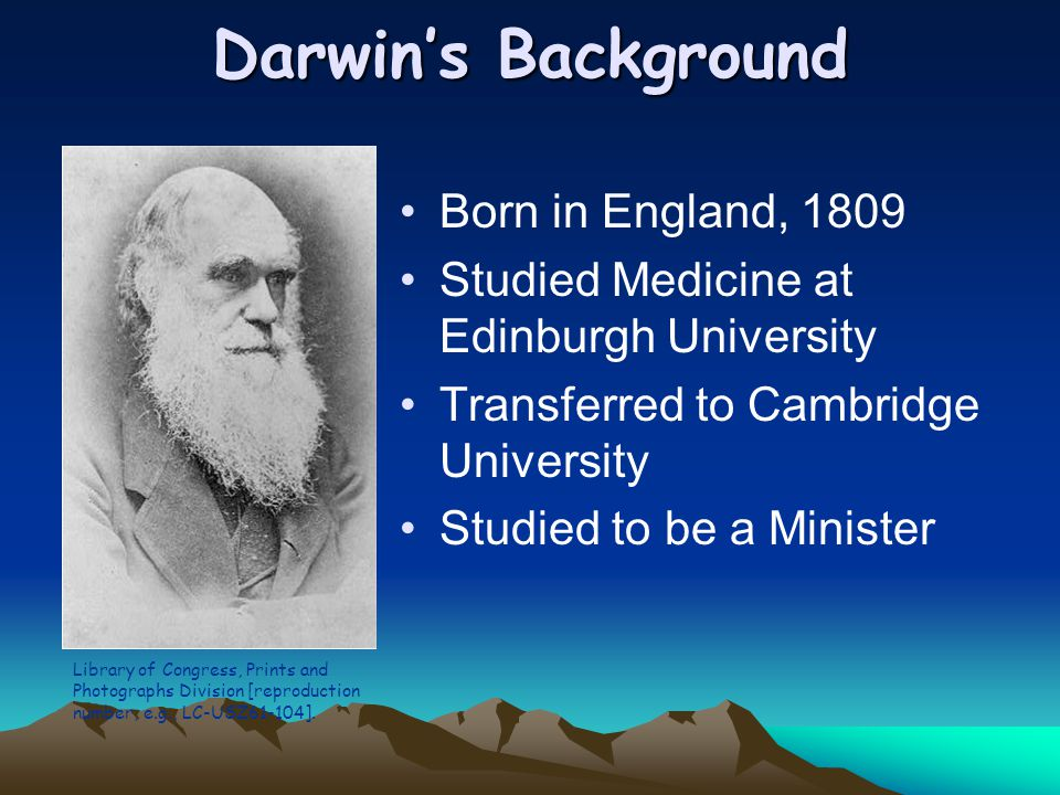 Darwin's Background Born in England, 1809 Studied Medicine at Edinburgh University Transferred to Cambridge University Studied to be a Minister Librar