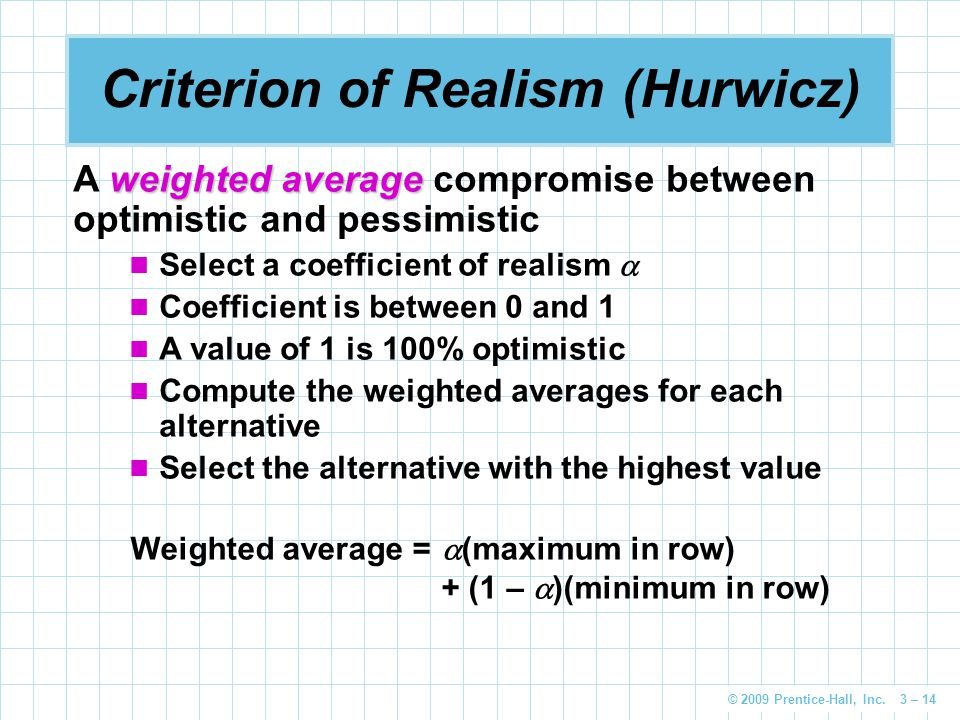 © 2009 Prentice-Hall, Inc. 3 – 14 Criterion of Realism (Hurwicz) weighted average A weighted average compromise between optimistic and pessimistic Sel