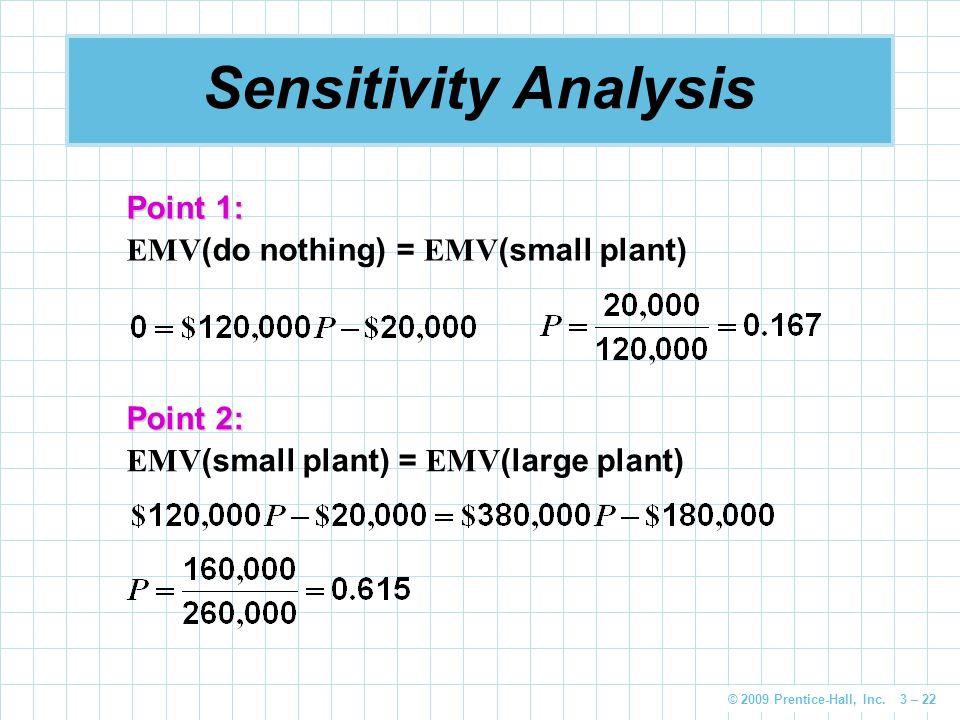 © 2009 Prentice-Hall, Inc. 3 – 22 Sensitivity Analysis Point 1: EMV (do nothing) = EMV (small plant) Point 2: EMV (small plant) = EMV (large plant)