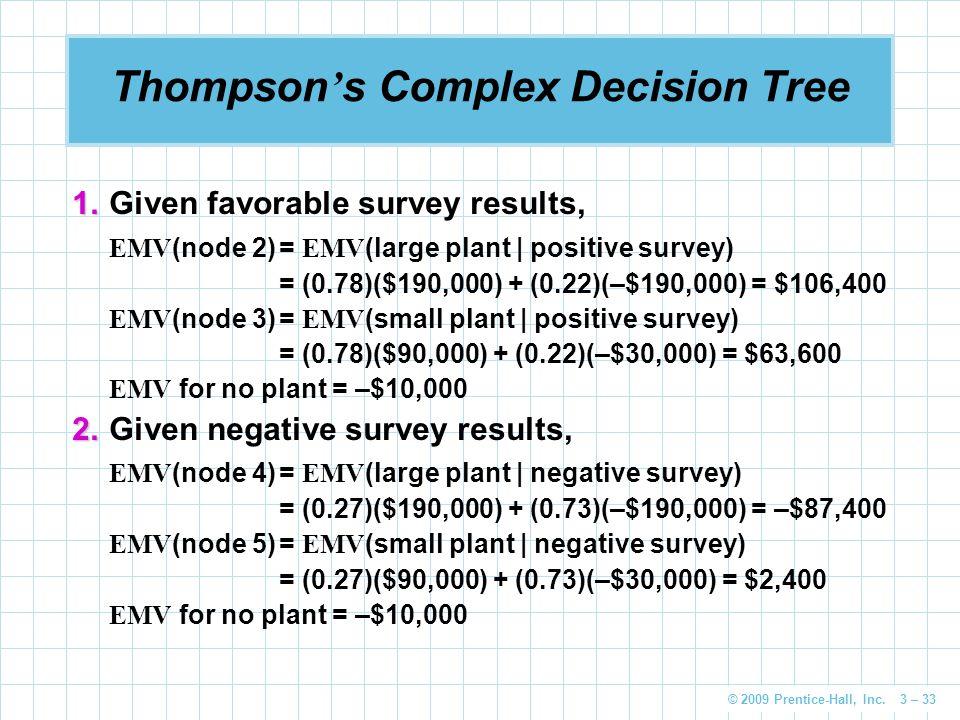 © 2009 Prentice-Hall, Inc. 3 – 33 Thompson ' s Complex Decision Tree 1. 1.Given favorable survey results, EMV (node 2)= EMV (large plant   positive su