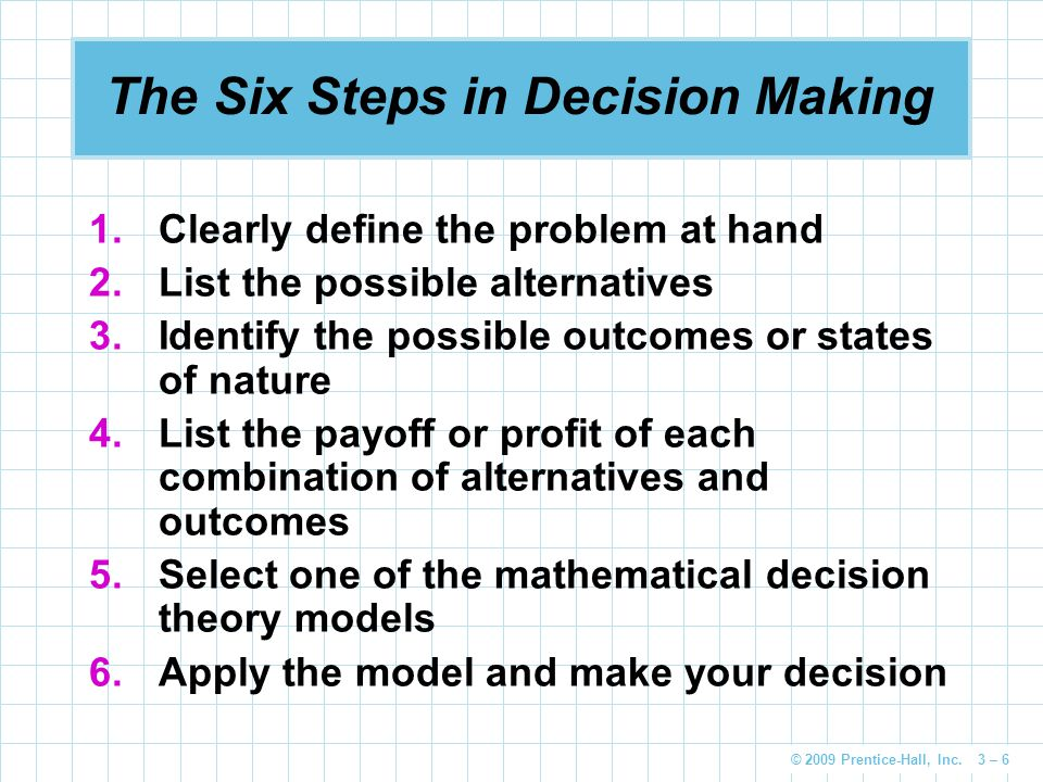 © 2009 Prentice-Hall, Inc. 3 – 6 The Six Steps in Decision Making 1.Clearly define the problem at hand 2.List the possible alternatives 3.Identify the
