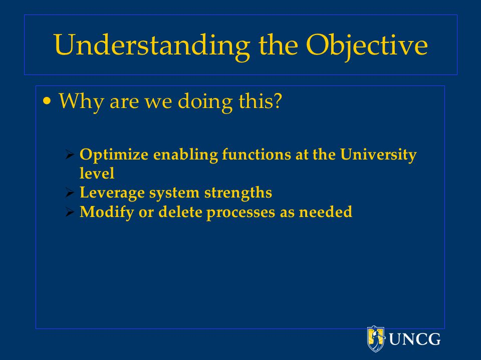 Understanding the Objective Why are we doing this.