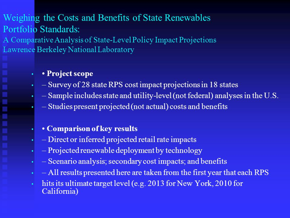 Weighing the Costs and Benefits of State Renewables Portfolio Standards: A Comparative Analysis of State-Level Policy Impact Projections Lawrence Berk