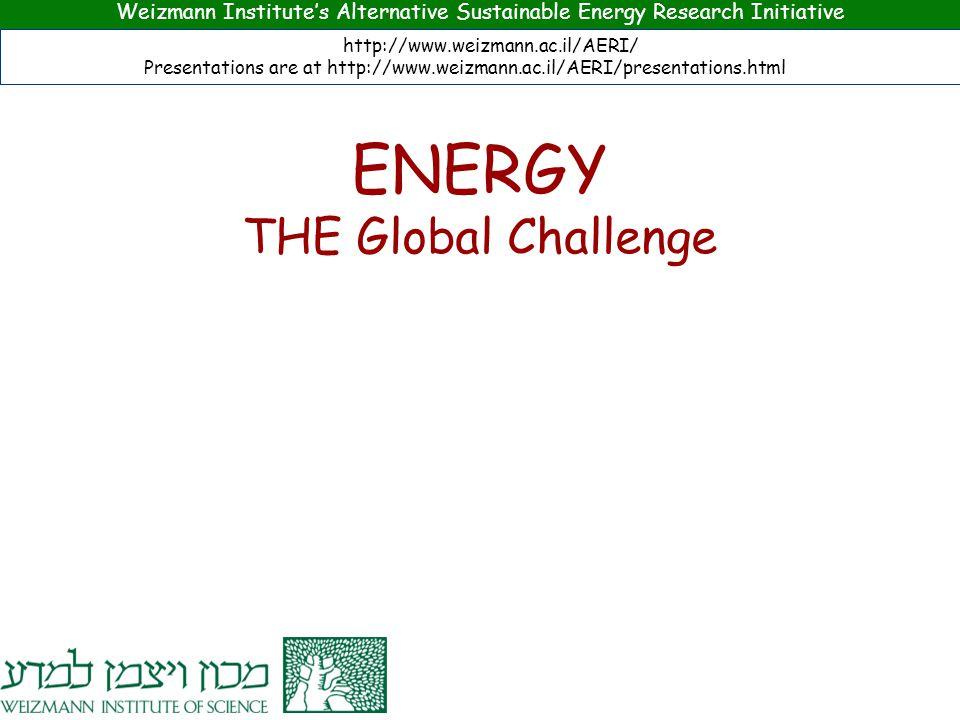 Weizmann Institute's Alternative Sustainable Energy Research Initiative http://www.weizmann.ac.il/AERI/ Presentations are at http://www.weizmann.ac.il/AERI/presentations.html ENERGY THE Global Challenge