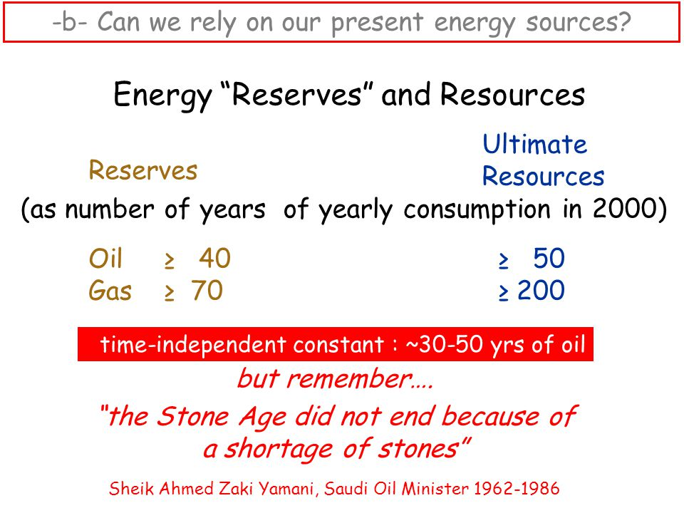 """Energy """"Reserves"""" and Resources (as number of years of yearly consumption in 2000) Ultimate Resources time-independent constant : ~30-50 yrs of oil Re"""