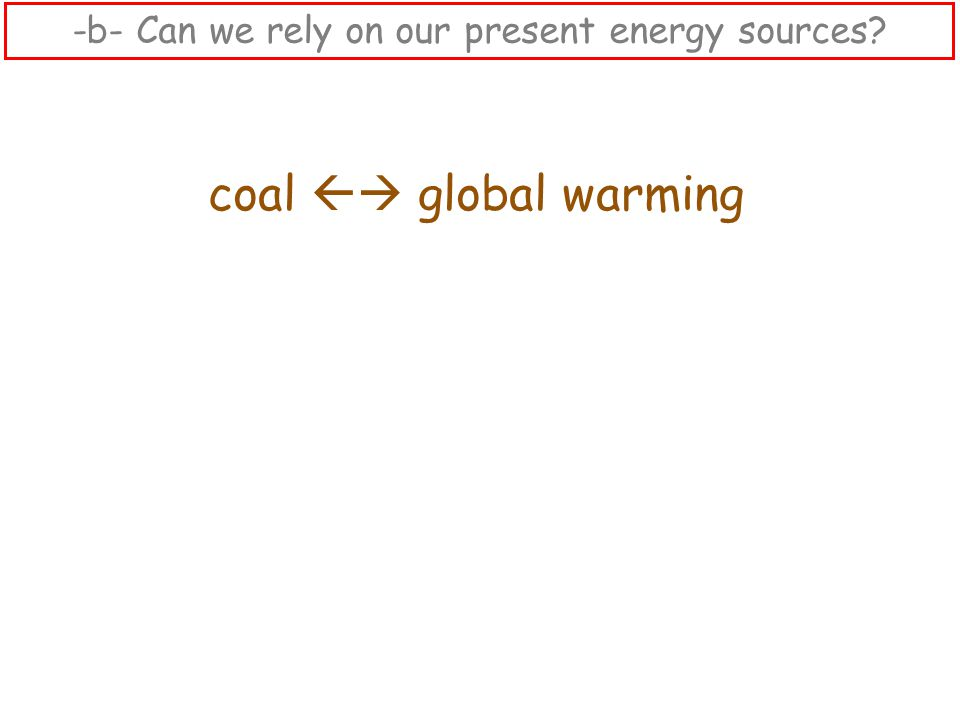 coal  global warming -b- Can we rely on our present energy sources?