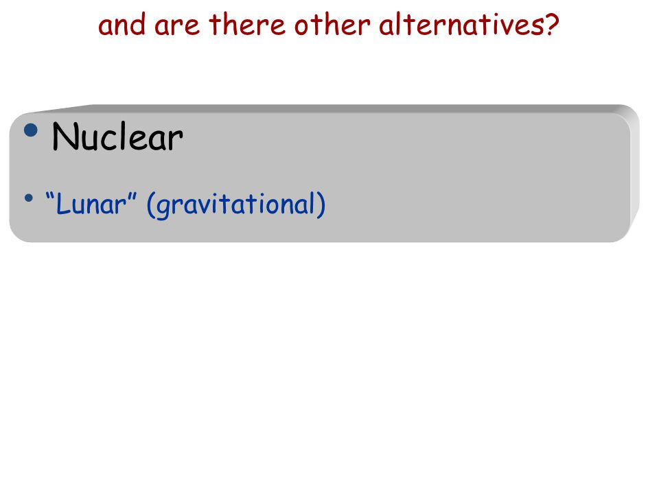 """and are there other alternatives? Nuclear """"Lunar"""" (gravitational)"""