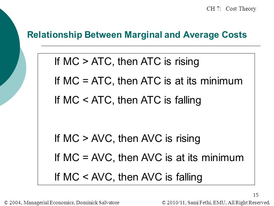CH 7: Cost Theory © 2010/11, Sami Fethi, EMU, All Right Reserved. © 2004, Managerial Economics, Dominick Salvatore 15 Relationship Between Marginal an