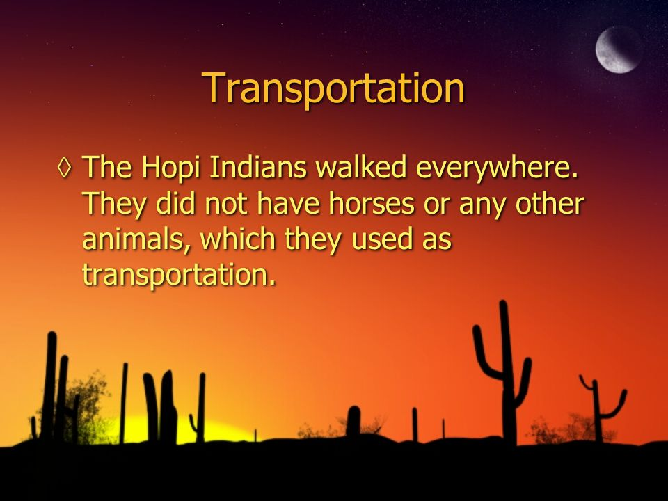 Transportation ◊The Hopi Indians walked everywhere.