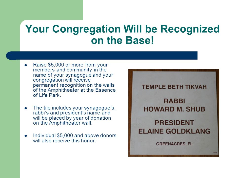 Your Congregation Will be Recognized on the Base.