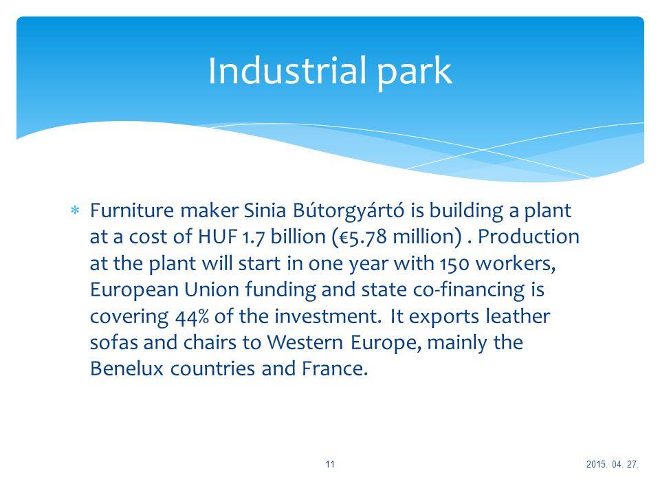  Furniture maker Sinia Bútorgyártó is building a plant at a cost of HUF 1.7 billion (€5.78 million).