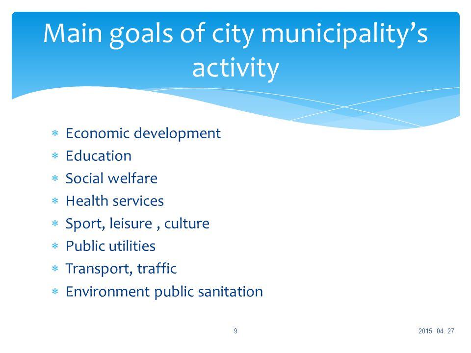  Economic development  Education  Social welfare  Health services  Sport, leisure, culture  Public utilities  Transport, traffic  Environment public sanitation Main goals of city municipality's activity 2015.