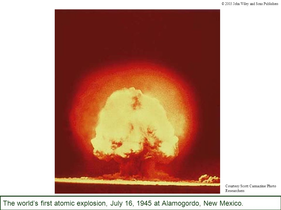 The world's first atomic explosion, July 16, 1945 at Alamogordo, New Mexico.