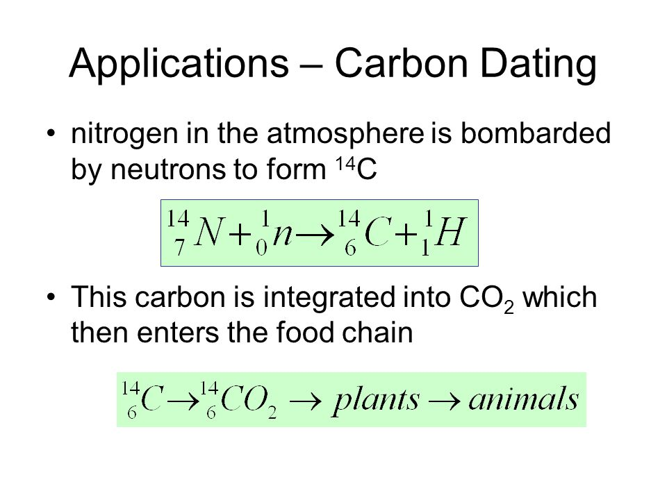 Applications – Carbon Dating nitrogen in the atmosphere is bombarded by neutrons to form 14 C This carbon is integrated into CO 2 which then enters the food chain