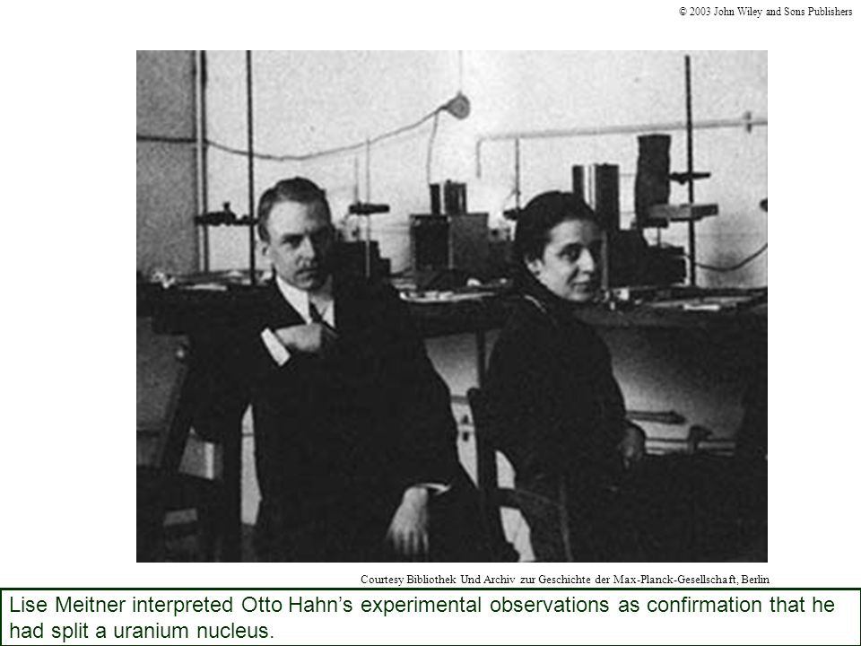 Lise Meitner interpreted Otto Hahn's experimental observations as confirmation that he had split a uranium nucleus.