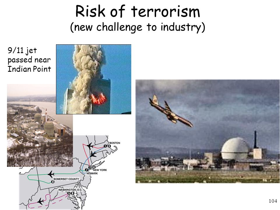 104 Risk of terrorism (new challenge to industry) 9/11 jet passed near Indian Point