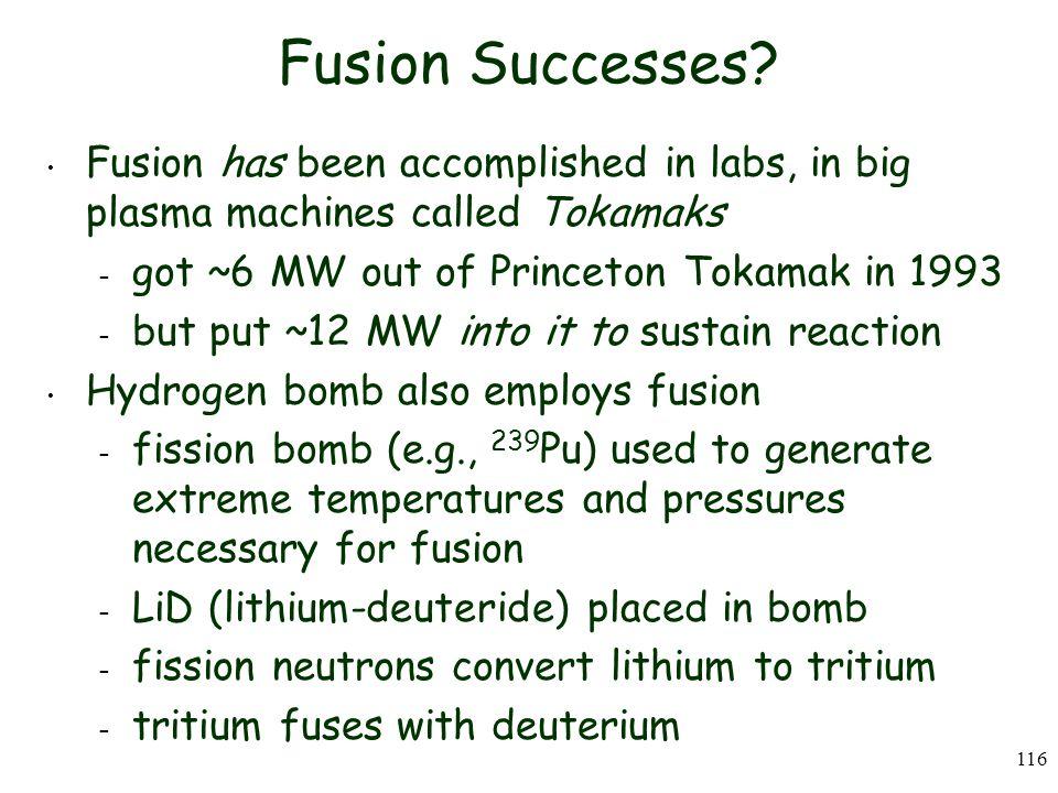116 Fusion Successes.