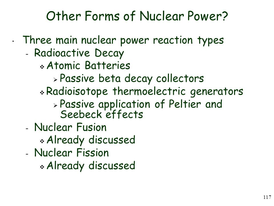 117 Other Forms of Nuclear Power.