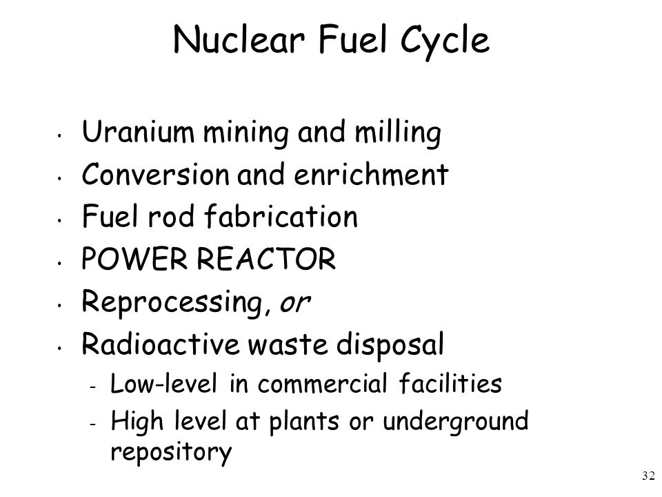 32 Nuclear Fuel Cycle Uranium mining and milling Conversion and enrichment Fuel rod fabrication POWER REACTOR Reprocessing, or Radioactive waste disposal – Low-level in commercial facilities – High level at plants or underground repository