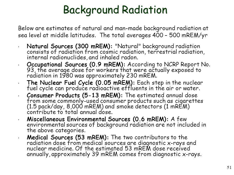 51 Background Radiation Natural Sources (300 mREM): Natural background radiation consists of radiation from cosmic radiation, terrestrial radiation, internal radionuclides, and inhaled radon.