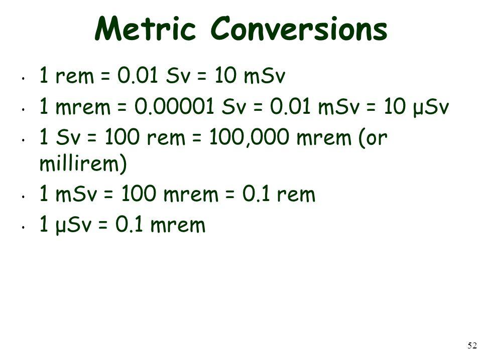 52 Metric Conversions 1 rem = 0.01 Sv = 10 mSv 1 mrem = 0.00001 Sv = 0.01 mSv = 10 μSv 1 Sv = 100 rem = 100,000 mrem (or millirem) 1 mSv = 100 mrem = 0.1 rem 1 μSv = 0.1 mrem