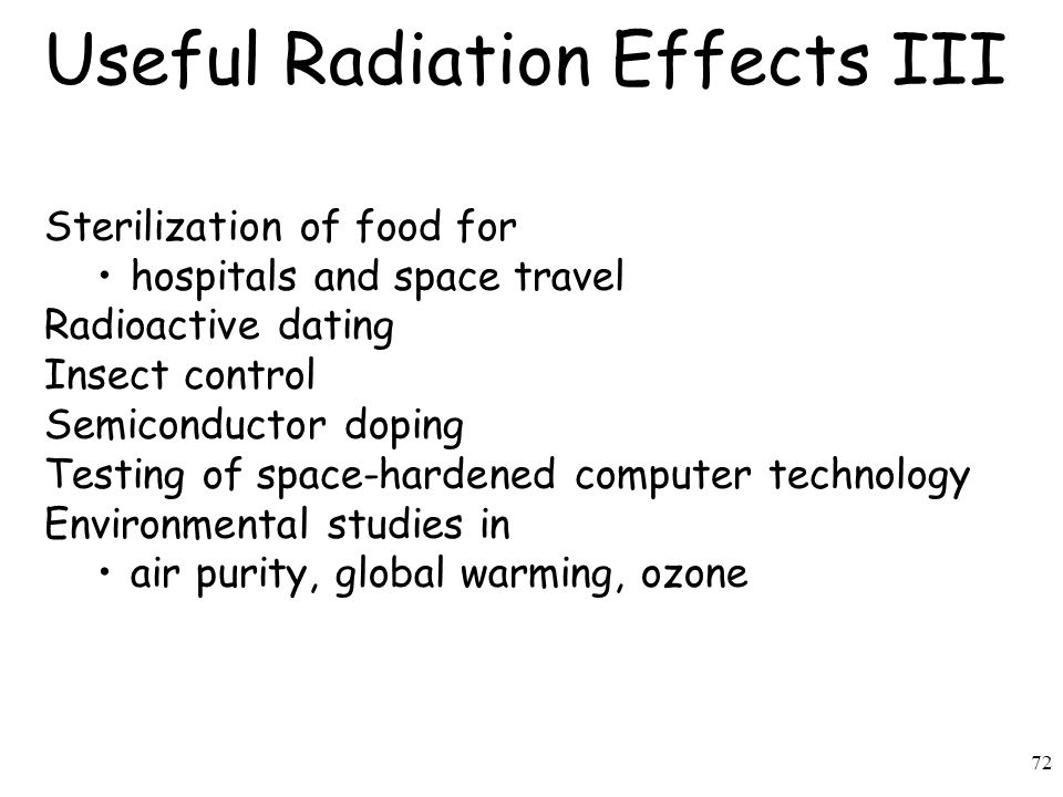72 Useful Radiation Effects III Sterilization of food for hospitals and space travel Radioactive dating Insect control Semiconductor doping Testing of space-hardened computer technology Environmental studies in air purity, global warming, ozone