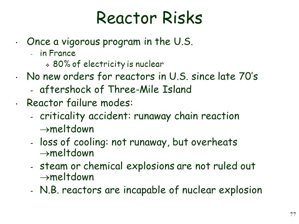 77 Reactor Risks Once a vigorous program in the U.S.