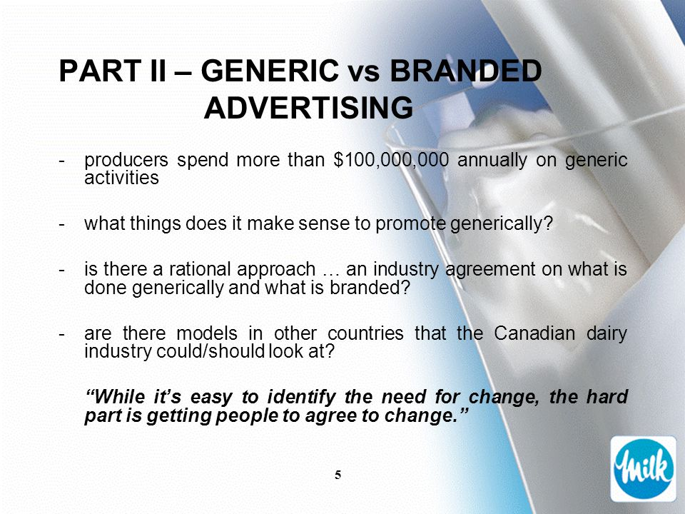 5 PART II – GENERIC vs BRANDED ADVERTISING -producers spend more than $100,000,000 annually on generic activities -what things does it make sense to promote generically.