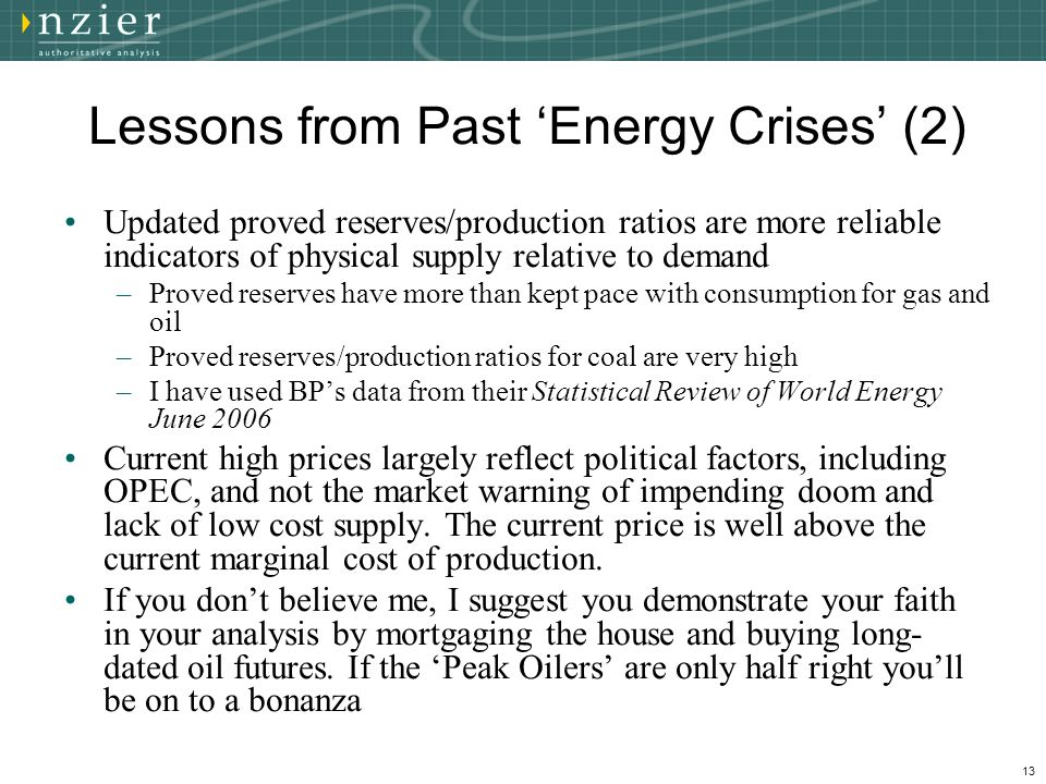 13 Lessons from Past 'Energy Crises' (2) Updated proved reserves/production ratios are more reliable indicators of physical supply relative to demand