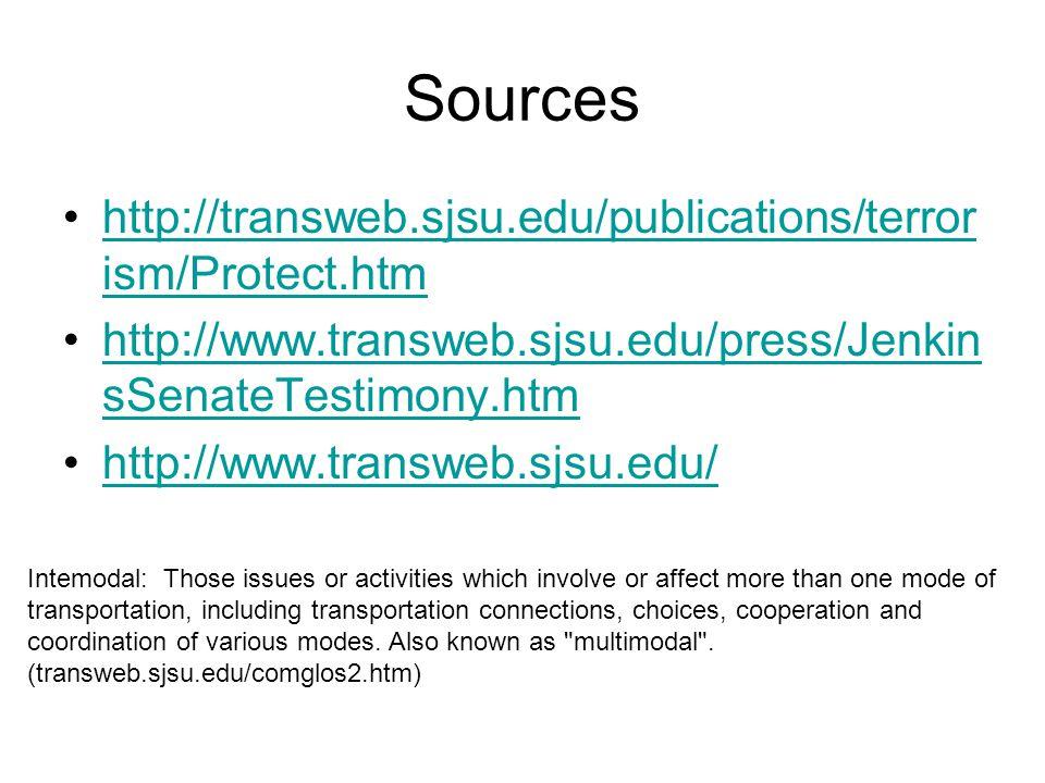 Sources http://transweb.sjsu.edu/publications/terror ism/Protect.htmhttp://transweb.sjsu.edu/publications/terror ism/Protect.htm http://www.transweb.s
