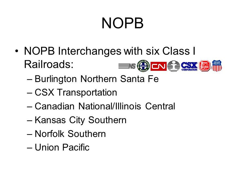 NOPB NOPB Interchanges with six Class I Railroads: –Burlington Northern Santa Fe –CSX Transportation –Canadian National/Illinois Central –Kansas City Southern –Norfolk Southern –Union Pacific