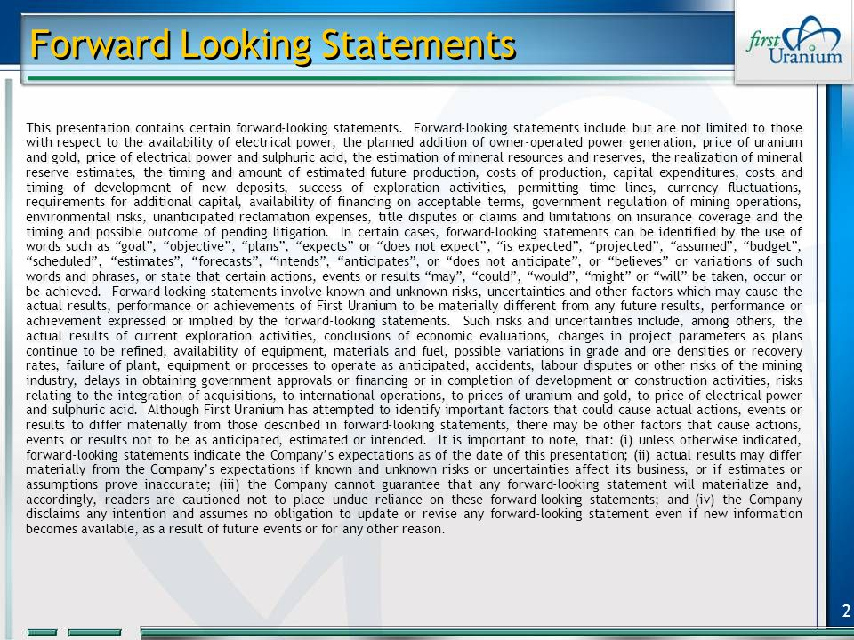2 Forward Looking Statements This presentation contains certain forward-looking statements.