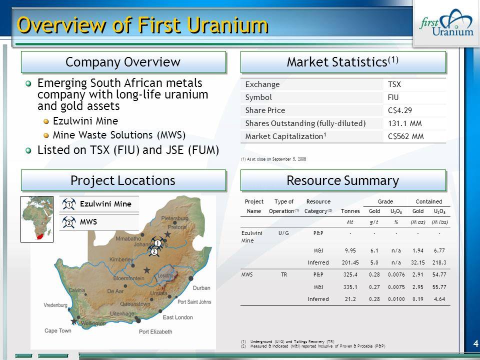 5 Ezulwini Mine Gold and uranium plants as at (July 2008) Ore stockpile